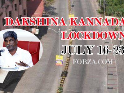 1-week Lockdown in Dakshina Kannada from Wednesday, 8 PM.